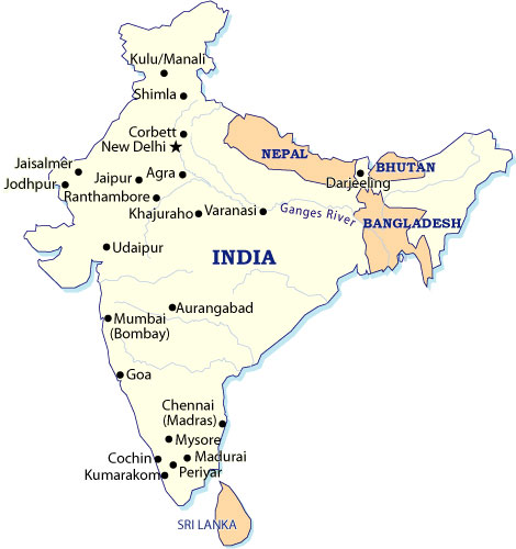 India Tours - India Tourist Map